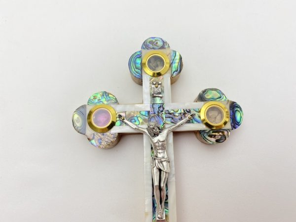 Mother of Pearl and Abalone Shell Crucifix