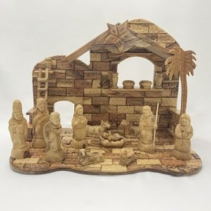 Large Nativity Set Hand Made From Olive Wood In Bethlehem