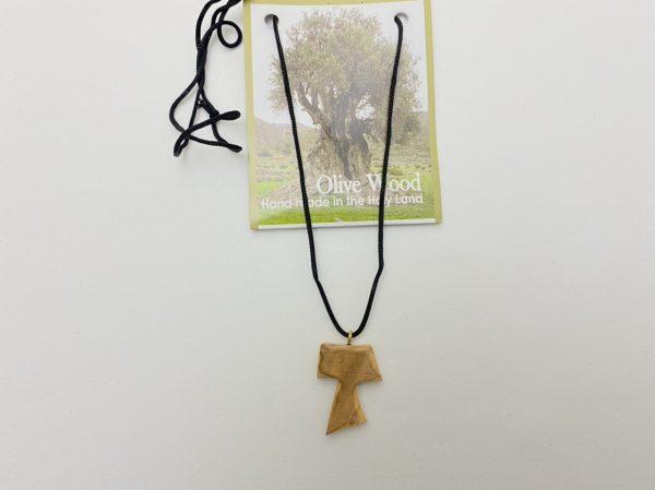 Olive Wood Tau Necklace Cross