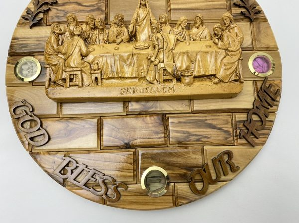 3D Round Plaque Of Last Supper made from Olive wood and Ceramic