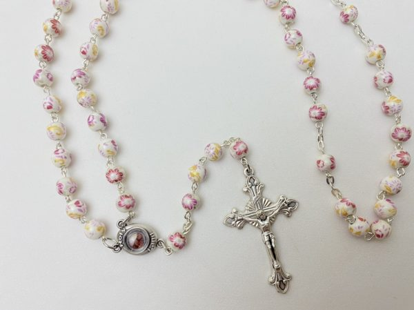 Pink Flower Rosary