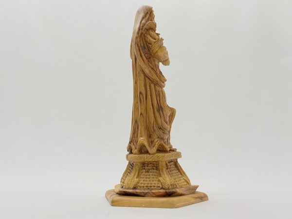Virgin Mary Holding The Holy Child Olive Wood Statue
