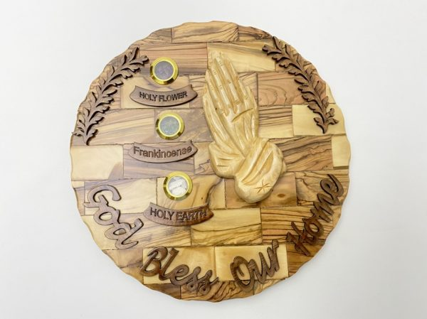 Wall Plaque God Bless Our Home Olive Wood with Paying Hands