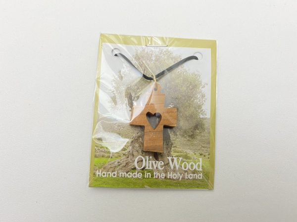 Necklace Olive Wood Heart Cross