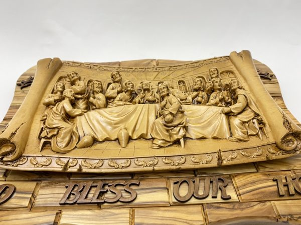 3D Wall Plaque of Last Supper made from Olive wood and Ceramic