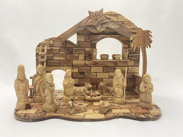 Large Nativity Set Hand Made From Olive Wood In Bethlehem