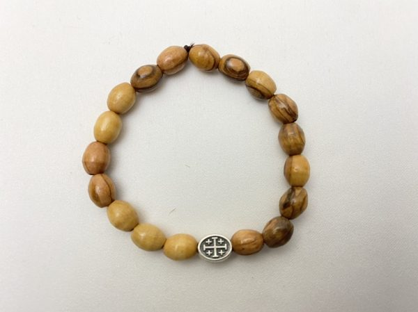 Olive Wooden Bracelet with Jerusalem Cross