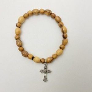 Olive Wood Bracelet with Cross