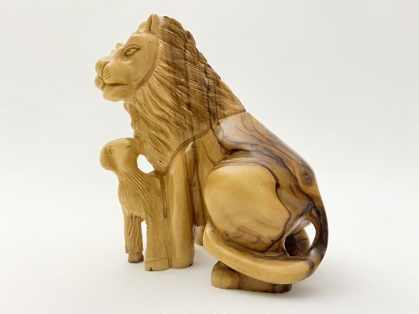 Olive Wood Statue of Lion and The Lamb