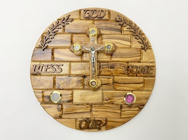 God Bless Our Home Wall Plaque with Crucifix
