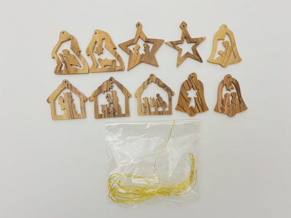 10 Olive Wood Christmas Ornament
