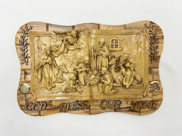 3D Nativity Wall Plaque made from Olive wood and Ceramic