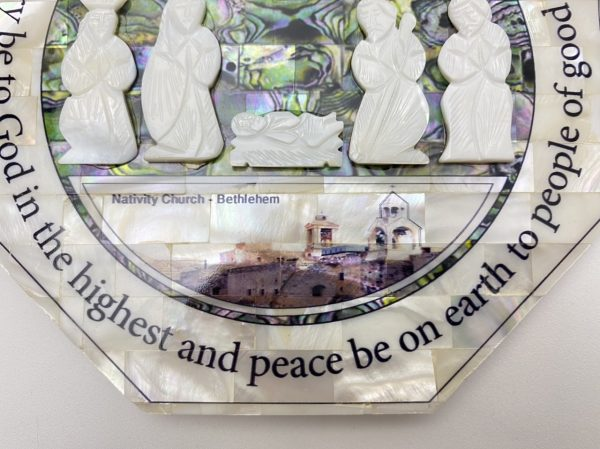 Nativity Wall Plaque made out of Mother Pearl and Abalone Shell